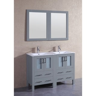 Bosconi 48-inch Grey Double Vanity Set with White Ceramic Tops, Mirrors, and Faucets