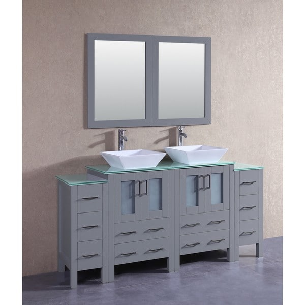 Bosconi 72-inch Grey Double Vanity Set with Tempered Glass Tops, Mirrors, and Faucets