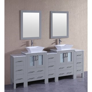 bosconi 84 inch grey double vanity set with white marble tops mirrors and