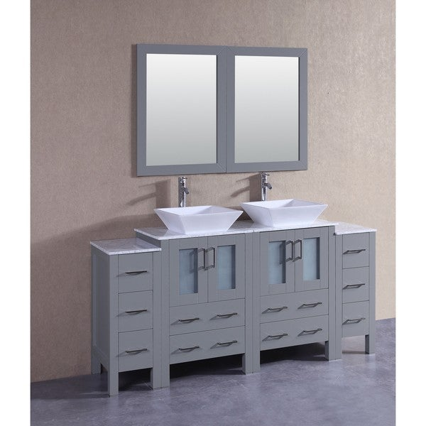 Bosconi 72-inch Grey Double Vanity Set with White Marble Tops, Mirrors, and Faucets