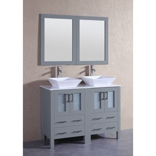Bosconi 48-inch Grey Double Vanity Set with White Marble Tops, Mirrors, and Faucets