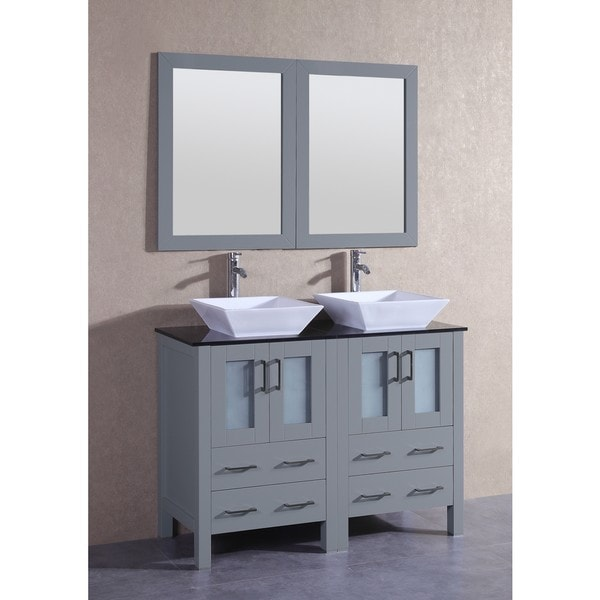 Bosconi 48-inch Grey Double Vanity Set with Black Tempered Glass Tops, Mirrors, and Faucets