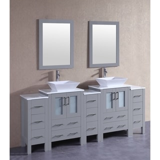 Bosconi 84-inch Grey Double Vanity Set with White Tempered Glass Tops