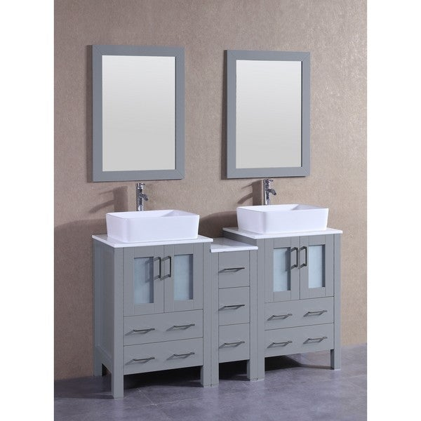 Bosconi 60-inch Grey Double Vanity Set with White Tempered Glass Tops, Mirrors, and Faucets