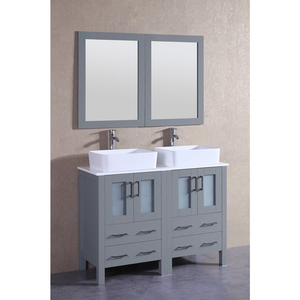 Bosconi 48-inch Grey Double Vanity Set with White Tempered Glass Tops, Mirrors, and Faucets