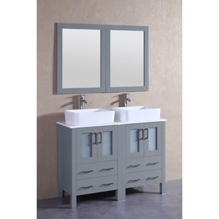 Bosconi 48-inch Grey Double Vanity Set with White Tempered Glass Tops