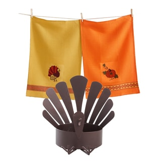 TAG Thanksgiving Turkey Pillar Holder and Dishtowel Set (1 each)