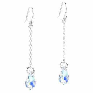 Queenberry Sterling Silver Crystal Aurora Borealis Teardrop Earrings