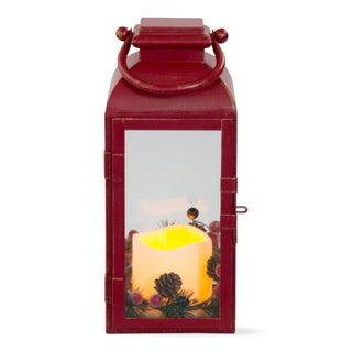 Red Benton Small TAG Christmas Flameless Led Lantern