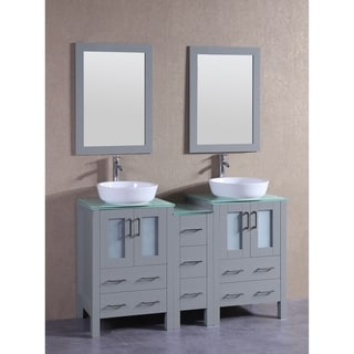 Bosconi 60-inch Grey Double Vanity Set with Tempered Glass Tops
