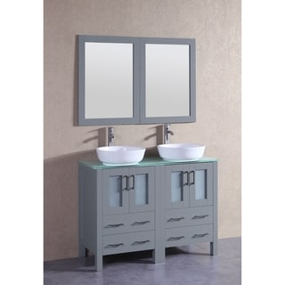 Bosconi 48-inch Grey Double Vanity Set with Tempered Glass Tops
