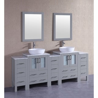 Bosconi 84-inch Grey Double Vanity Set with White Marble Tops