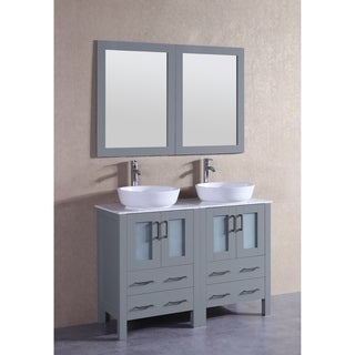Bosconi 48-inch Grey Double Vanity Set with White Marble Tops