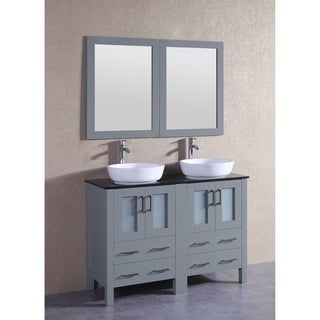 Bosconi 48-inch Grey Double Vanity Set with Black Tempered Glass Tops
