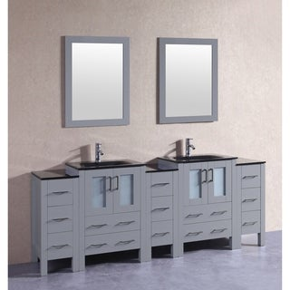 Bosconi 84-inch Grey Double Vanity Set with Black Tempered Glass Tops