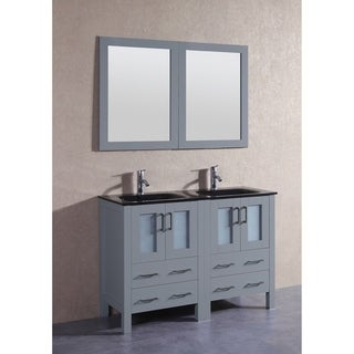 Bosconi 48-inch Grey Double Vanity Set with Black Tempered Glass Tops, Mirror, and Faucet