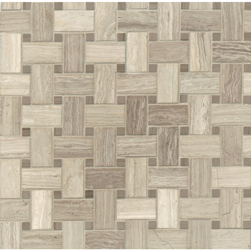Shop Basket Weave Mosaic Stone Tile Pack Of 10 Overstock