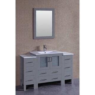 Bosconi 54-inch Grey Single Vanity Set with White Ceramic Tops
