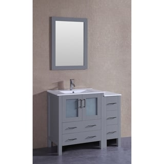 Bosconi 42-inch Single Vanity Cabinet with Bi-level White Ceramic Top, Mirror, and Faucet
