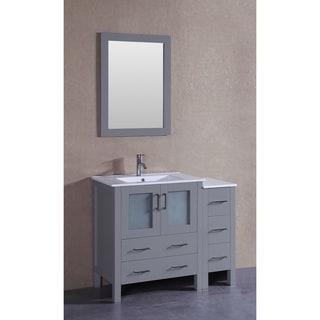 Bosconi 42-inch Single Vanity Cabinet with Bi-level White Ceramic Top