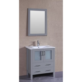 Bosconi 30-inch Single Vanity Cabinet with White Glass Top