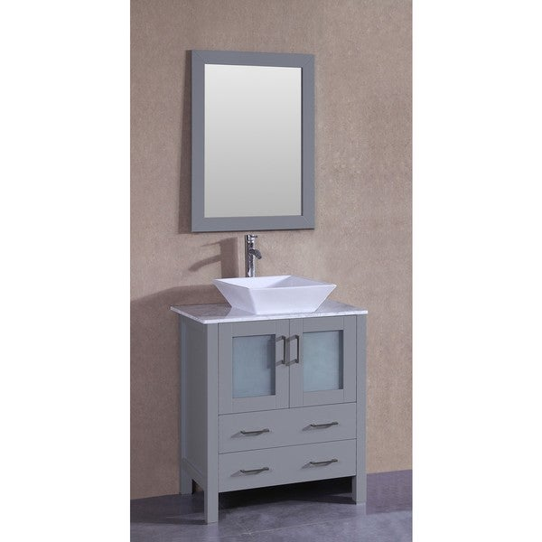 Bosconi 30-inch Single Vanity Cabinet with White Marble Countertop, Mirror, and Faucet