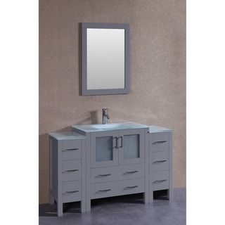Bosconi 54-inch Grey Single Vanity Set with Frosted Tempered Glass Tops