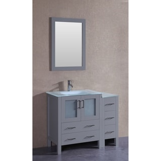 Bosconi 42-inch Single Vanity Cabinet with Bi-level Frosted Tempered Glass Top