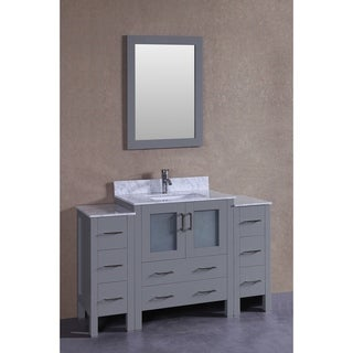 Bosconi 54-inch Grey Single Vanity Set with White Marble Tops