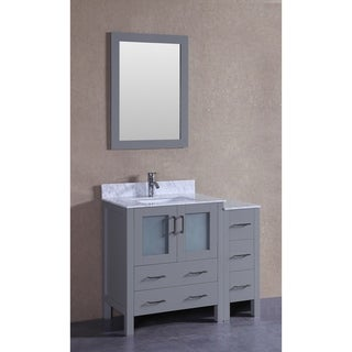 Bosconi 42-inch Single Vanity Cabinet with Bi-level A White Marble Countertop Top, Mirror, and Faucet