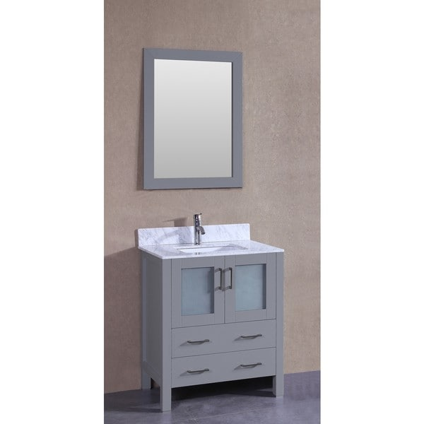 Bosconi 30-inch AGR130CMU Single Vanity with Mirror, and Faucet