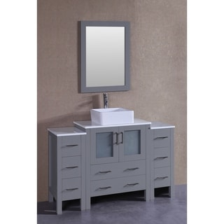 bosconi 54inch grey single vanity set with white tempered glass tops mirror - Mirrored Bathroom Vanity