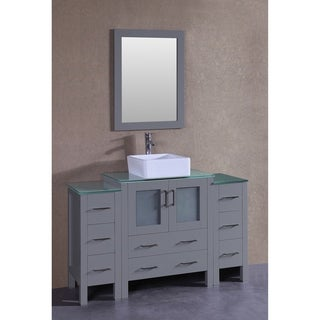 Bosconi 54-inch Grey Single Vanity Set with Tempered Glass Tops, Mirror, and Faucet