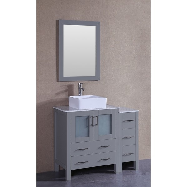 Bosconi 42-inch Single Vanity Cabinet with Bi-level White Marble Top, Mirror, and Faucet