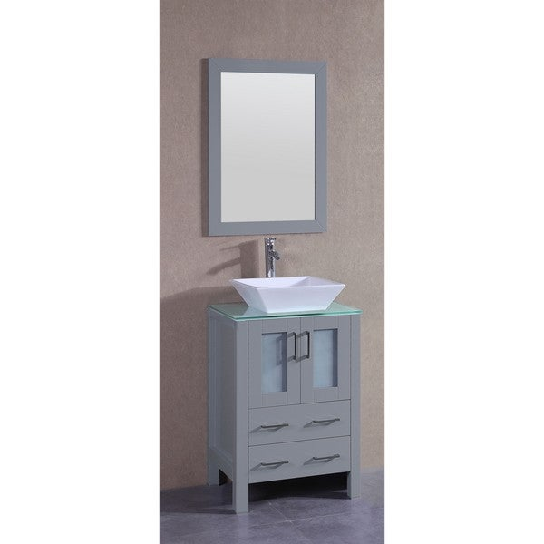 Bosconi 24-inch Single Vanity Cabinet with Glass Top, Mirror, and Faucet
