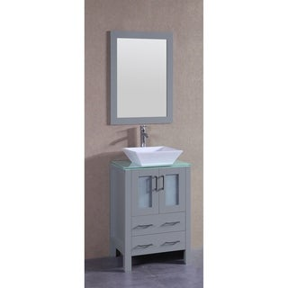 Bosconi 24-inch Single Vanity Cabinet with Glass Top