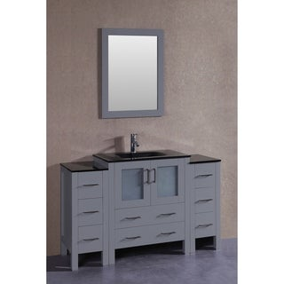 Bosconi 54-inch Grey Single Vanity Set with Black Tempered Glass Tops, Mirror, and Faucet