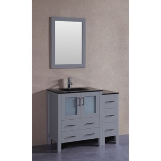 Bosconi 42-inch Single Vanity Cabinet with Bi-level Black Tempered Glass Top