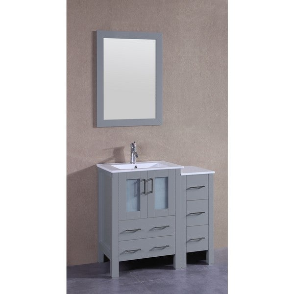 Bosconi 36-inch Single Vanity Cabinet with Bi-level White Glass Tops, Mirror, and Faucet