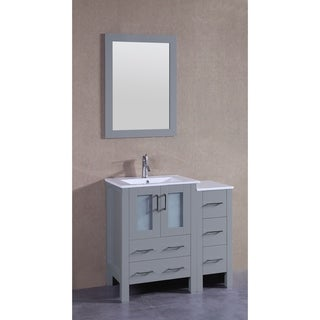 Bosconi 36-inch Single Vanity Cabinet with Bi-level White Glass Tops