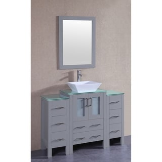Bosconi 48-inch Grey Single Vanity Set with Tempered Glass Tops, Mirror, and Faucet
