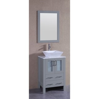 Bosconi 24-inch Single Vanity Cabinet with White Marble Countertop