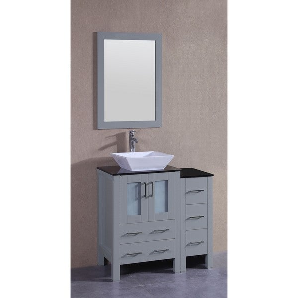 Bosconi 36-inch Single Vanity Cabinet with Bi-level Black Glass Tops, Mirror, and Faucet