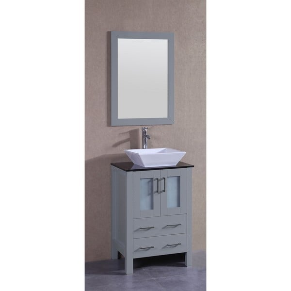 Bosconi 24-inch Single Vanity Cabinet with Black Glass Top, Mirror, and Faucet
