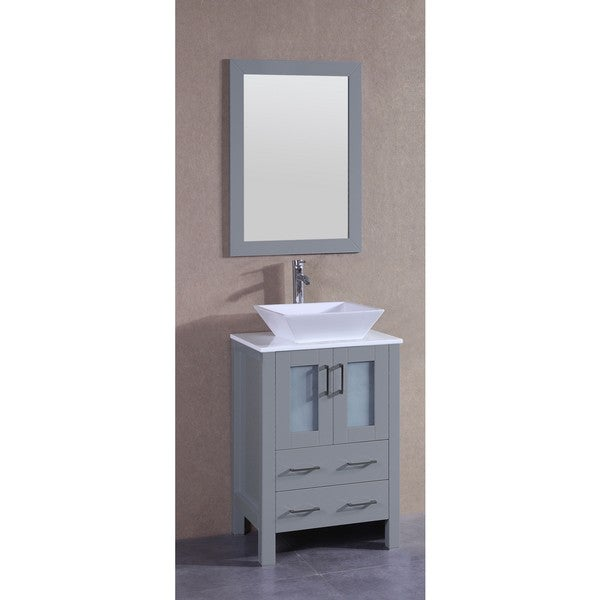 Bosconi 24-inch Single Vanity Cabinet with White Glass Top, Mirror, and Faucet
