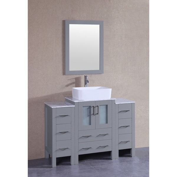 Bosconi 48-inch Grey Single Vanity Set with White Marble Tops, Mirror, and Faucet