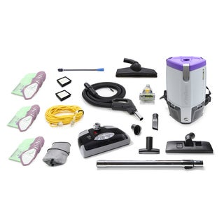 Loaded ProTeam Super Coach Pro 6 QT Commercial Backpack Vacuum Cleaner With Power head