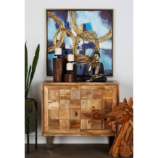 Benzara Modish Brown Wood and Stainless Steel Cabinet