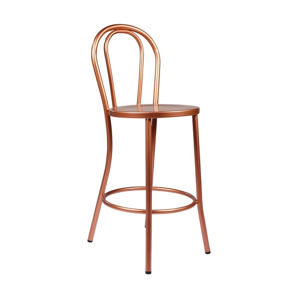 Copper French Bar Stool With Curved Back Free Shipping