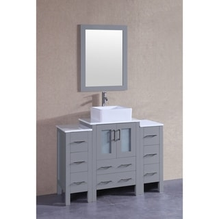Bosconi 48-inch Grey Single Vanity Set with White Tempered Glass Tops, Mirror, and Faucet